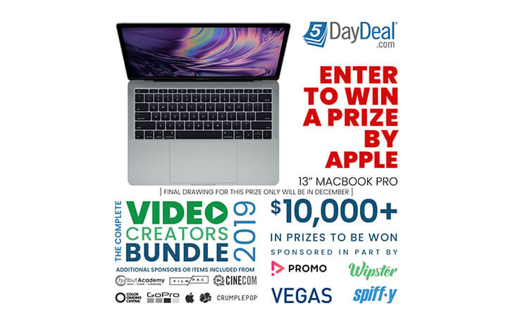 5DayDeal Video Creators Bundle 2019 giveaway has launched, $10,000 in prizes to be won