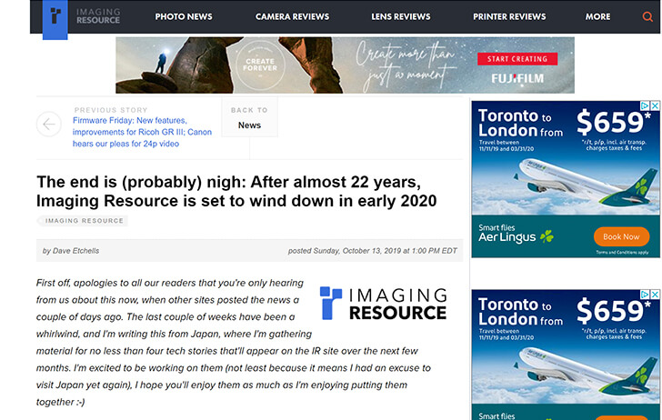 The end of an era? Review site Imaging Resource nearing its end