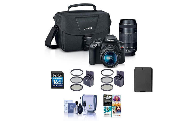 Bundle Deal: Canon EOS Rebel T6 w/18-55mm IS, 75-300mm III and accessories $399