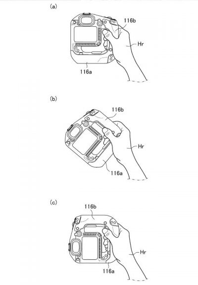gripatent7 400x575 - Patent: A new mirrorless camera body design with integrated grip with pass-through